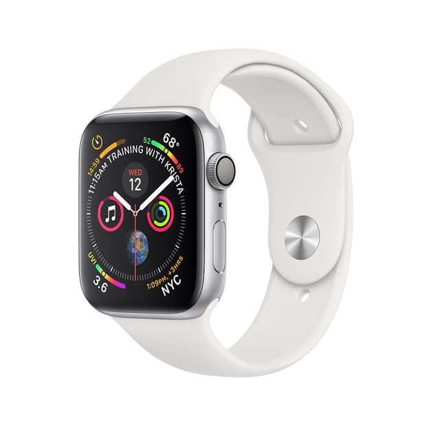 Умные часы Apple Watch Series 4 GPS 44mm Aluminum Case with Sport Band (Цвет: Silver/White)