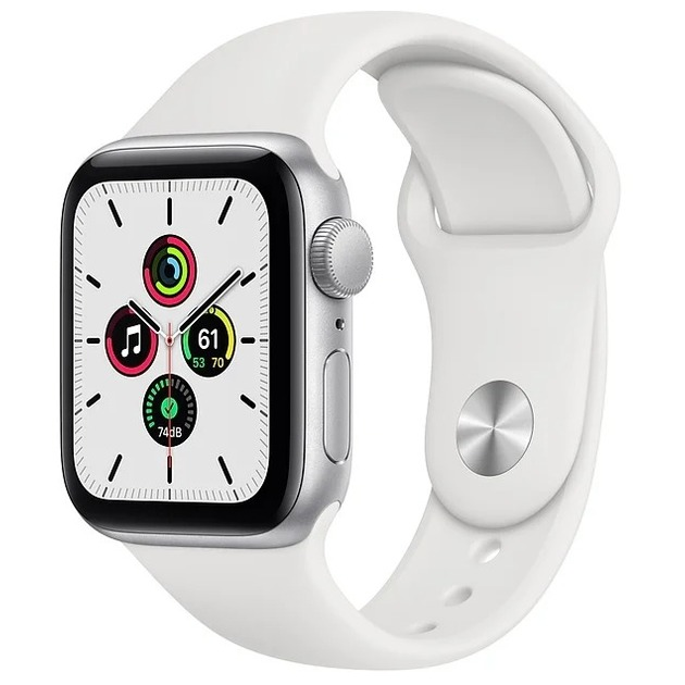 Умные часы Apple Watch SE GPS 40mm Aluminum Case with Sport Band (Цвет: Silver/White)