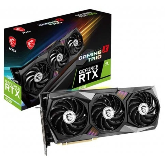 Видеокарта MSI PCI-E 16 RTX 3060 GAMING X TRIO 12G OC NVIDIA GeForce RTX 3060 12GB 192 GDDR6 1852/15000/HDMIx1/DPx4