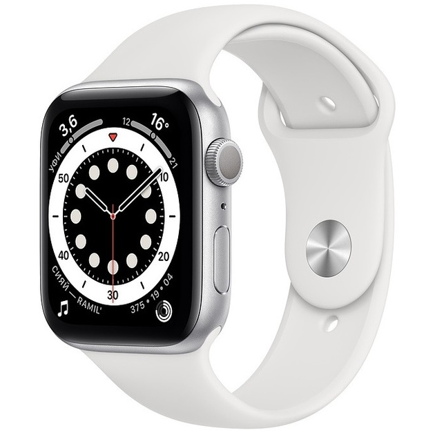 Умные часы Apple Watch Series 6 GPS 44mm Aluminum Case with Sport Band (Цвет: Silver/White)