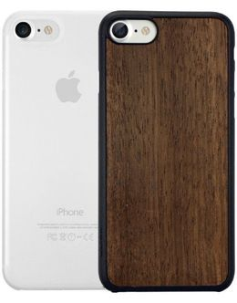 Чехол-накладка Ozaki O!Coat Jelly + Wood 2 in1 Case для смартфона iPhone 7/8 (Цвет: Ebony + Clear)