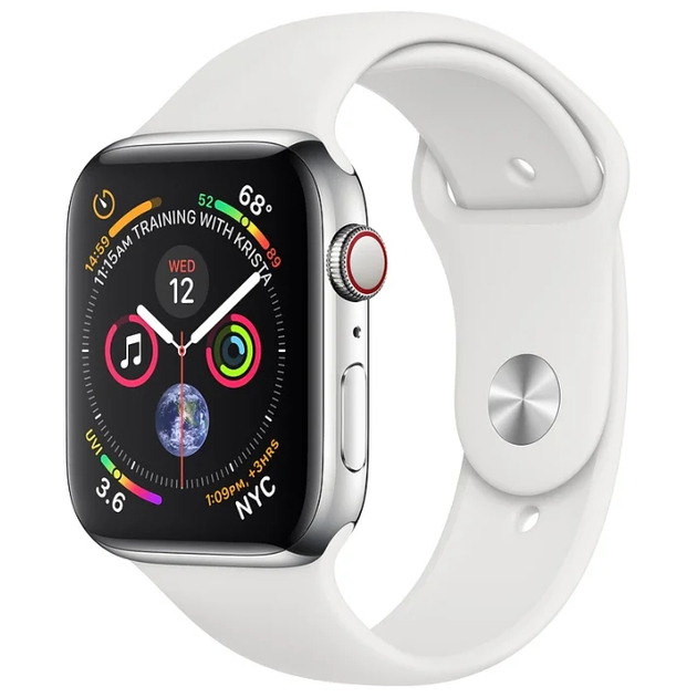 Умные часы Apple Watch Series 4 GPS + Cellular 40mm Stainless Steel Case with Sport Band (Цвет: White)
