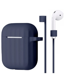 Чехол Silicon Protect Case для Apple AirPods (Цвет: Dark Blue)