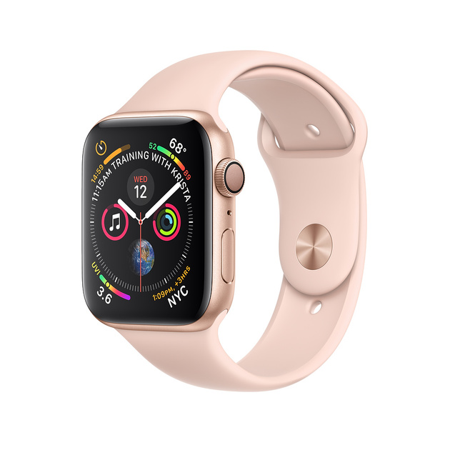 Умные часы Apple Watch Series 4 GPS 44mm Aluminum Case with Sport Band (Цвет: Gold/Pink Sand)