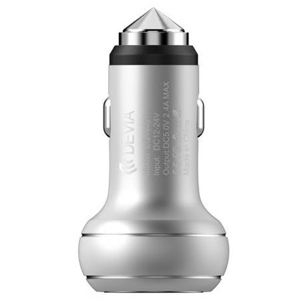 АЗУ Devia Thor Dual USB Port Car Charger 2.4A (Цвет: Silver)