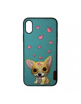 Накладка Comma Dog Embroidery Case iPhone X/XS (Цвет: Blue)