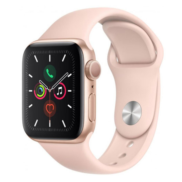 Умные часы Apple Watch Series 5 GPS 40mm Aluminum Case with Sport Band MWV72RU/A (Цвет: Gold/Pink Sand)