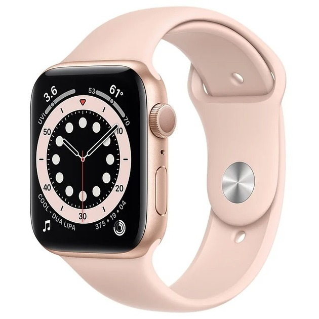Умные часы Apple Watch Series 6 GPS 44mm Aluminum Case with Sport Band (Цвет: Gold/Pink Sand)