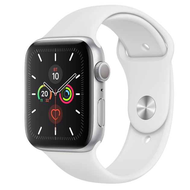 Умные часы Apple Watch Series 5 GPS 44mm Aluminum Case with Sport Band (Цвет: Silver/White)
