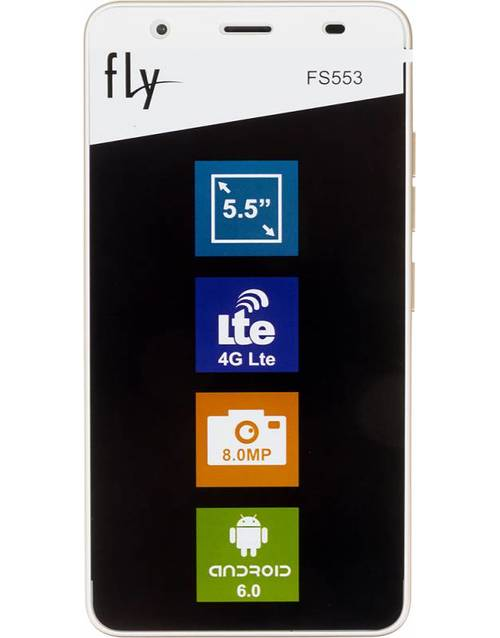 Смартфон Fly FS553 Cirrus 9 8Gb (Цвет: Gold/White)