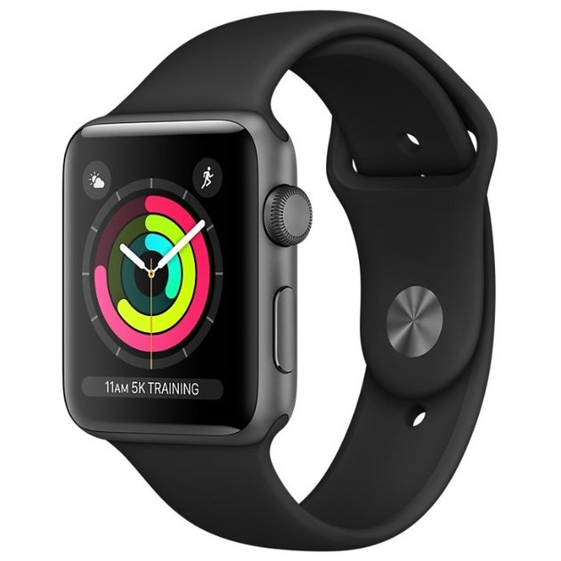 Умные часы Apple Watch Series 3 38mm Aluminum Case with Sport Band (Цвет: Space Gray/Black)